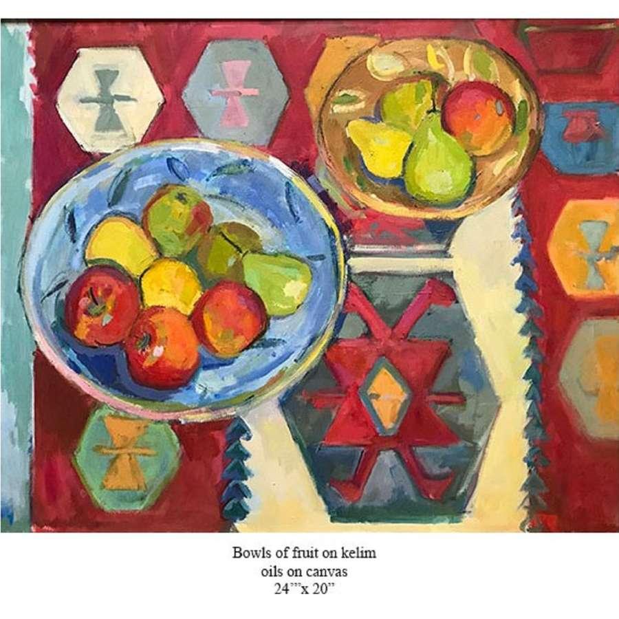 Antonia Ogilvie-Forbes. Bowls of fruit on Kelim.