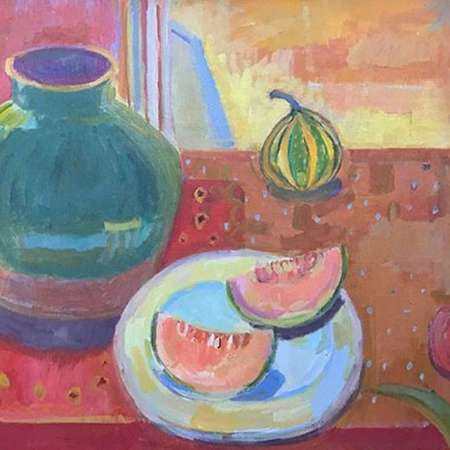 Antonia Ogilvie-Forbes. Melons with Chinese Oil Jar.