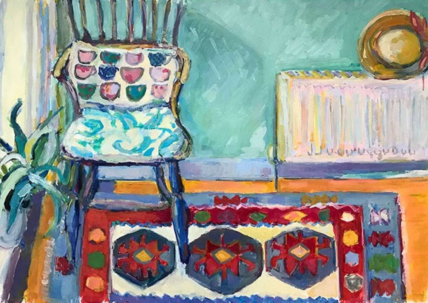 Antonia Oglivie-Forbes. Indian rug with old chair.