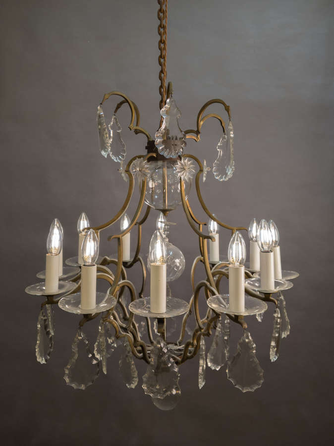 A Mid Century French Brass Chandelier