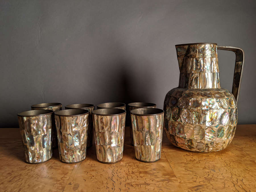 Circa 1930 A Mexican Silver Inlaid Water Set