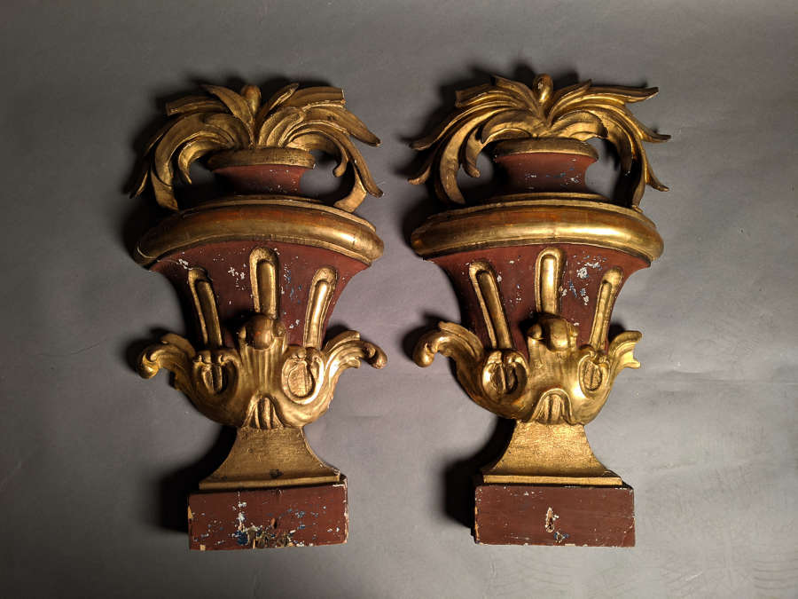 An 18th Century Pair of Italian Gilt Wood Urns