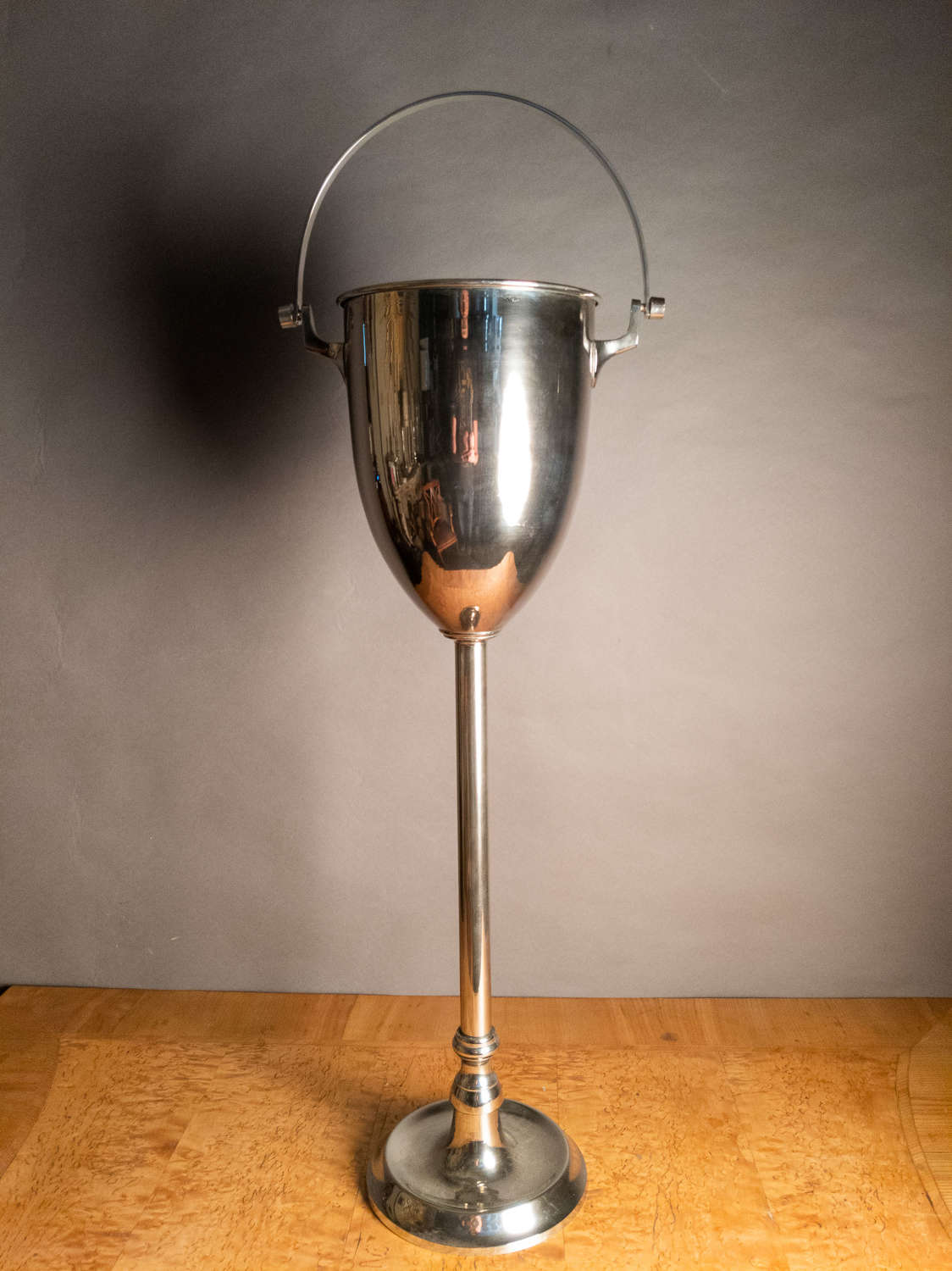 An Art Deco Silver Plated Wine Bucket on stand