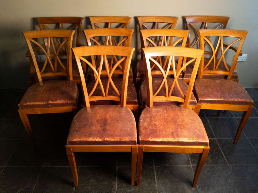 A set of 10 Fruitwood Dining Chairs in Leather Circa 1930