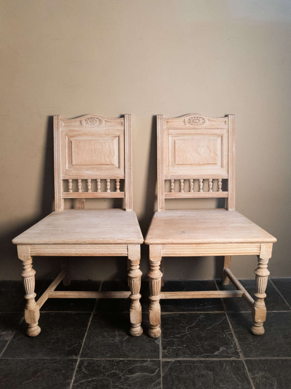 Circa 1900 A Pair of Gillows Oak Hall Chairs