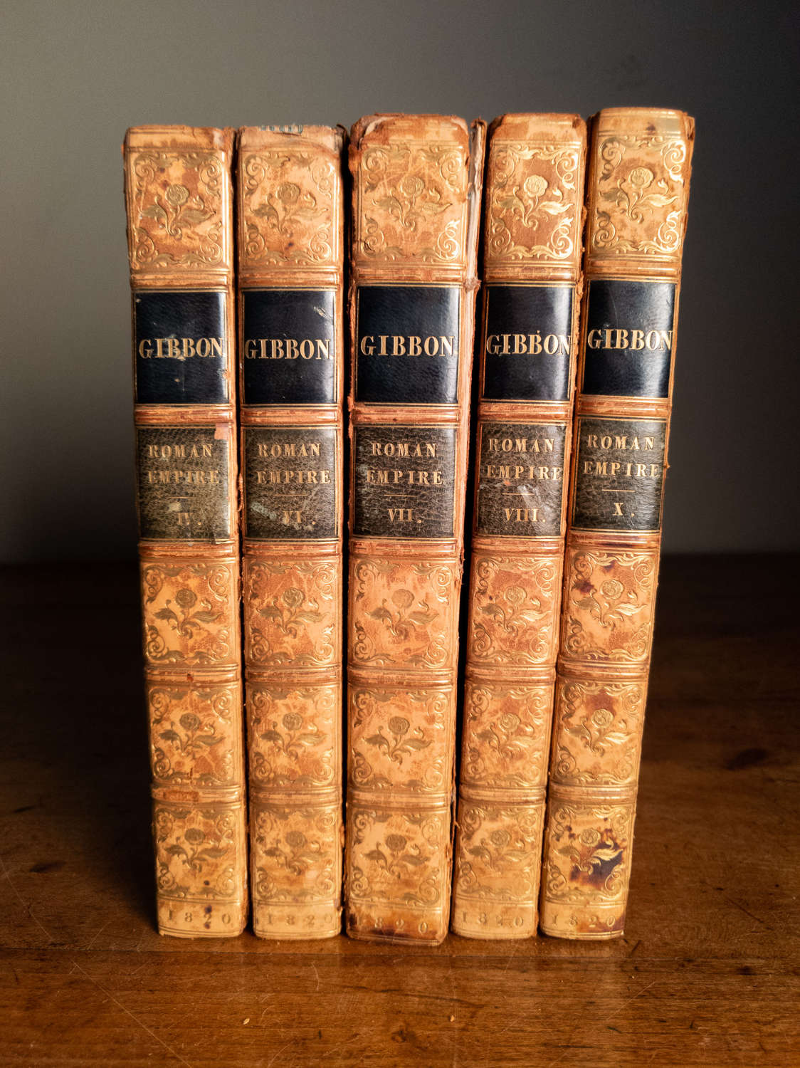 Dated 1820 A Set of 5 Gibbon Leather Books