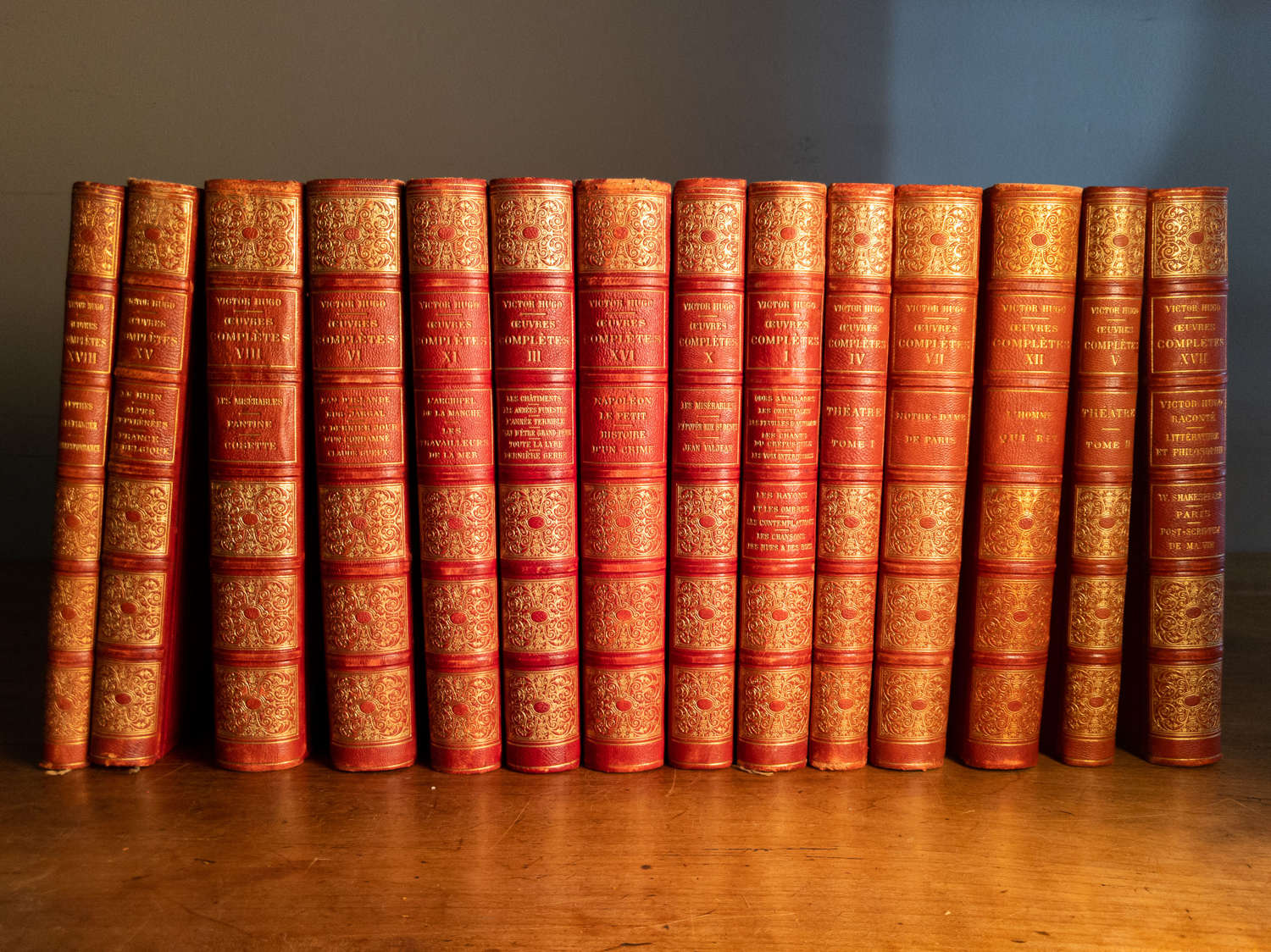 Dated 1880 A Set of 14 Red Leather Victor Hugo Books