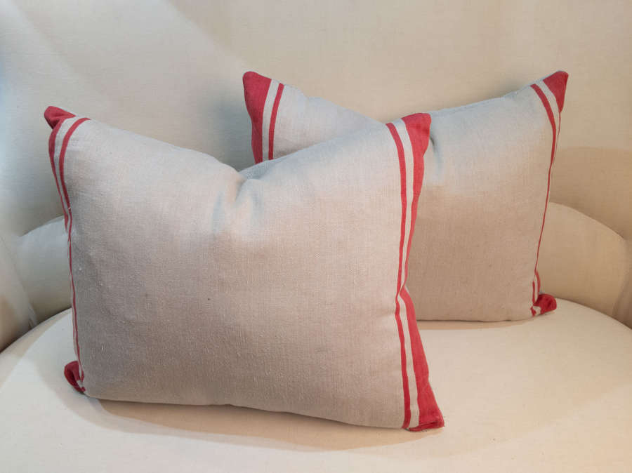 C1920 French Linen Custom made Cushions