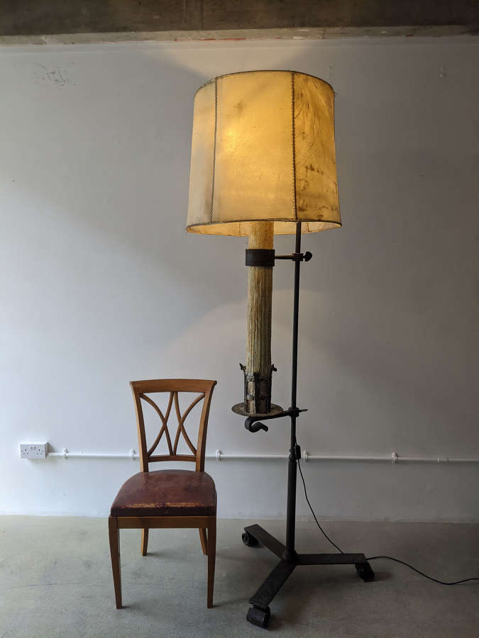C1930 A Large French Iron Candle Floor Lamp