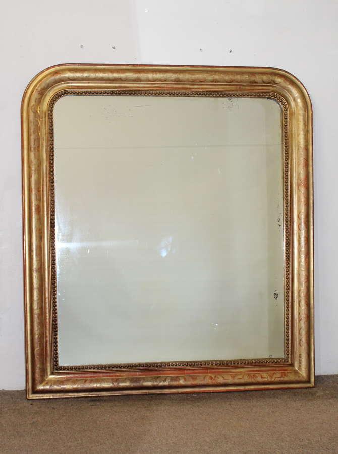 Wide 19th century gilt archtop mirror