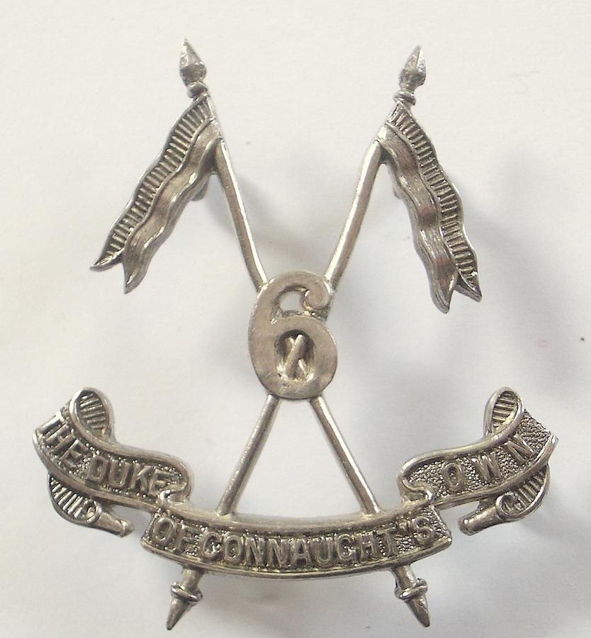 Indian Army 6th DCO Lancers 1921 hallmarked silver cap badge