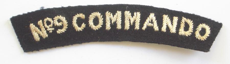 No.9 COMMANDO WW2 cloth shoulder title