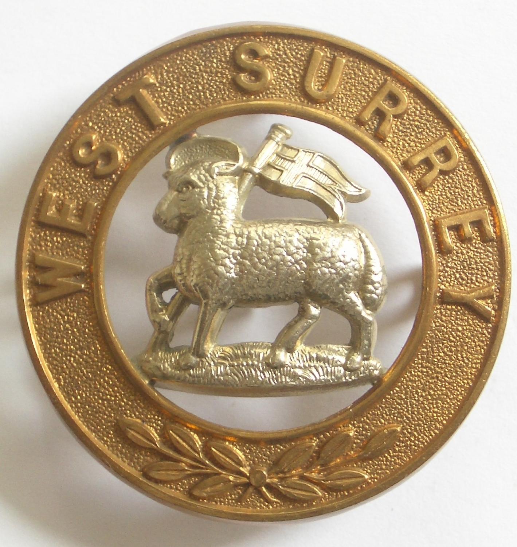Queen's West Surrey helmet plate centre