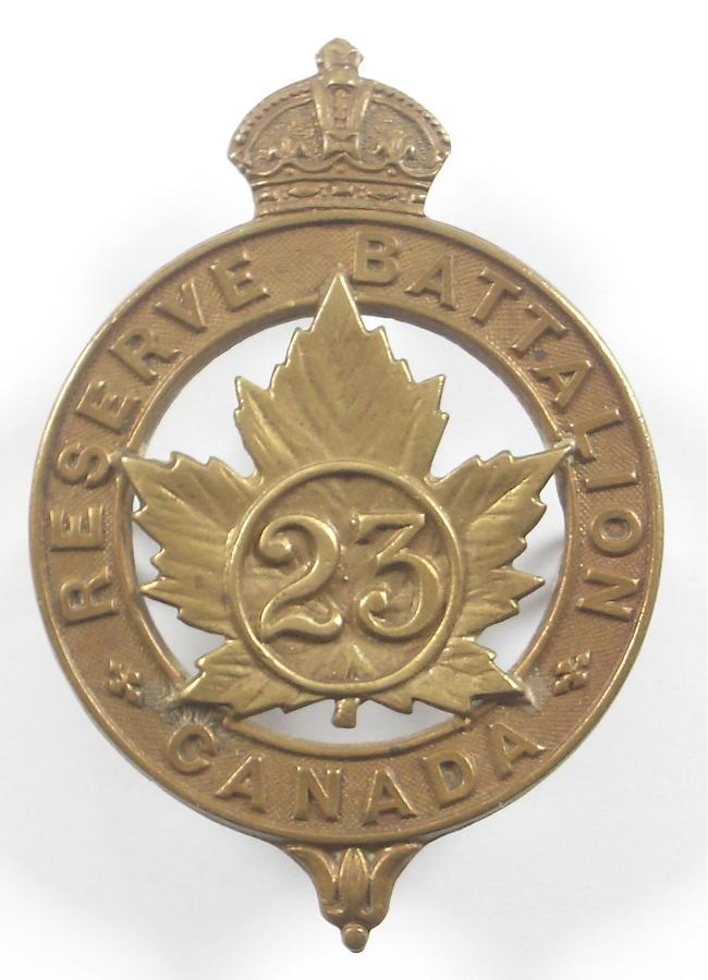 Canadian 23rd Reserve Bn CEF Cap Badge