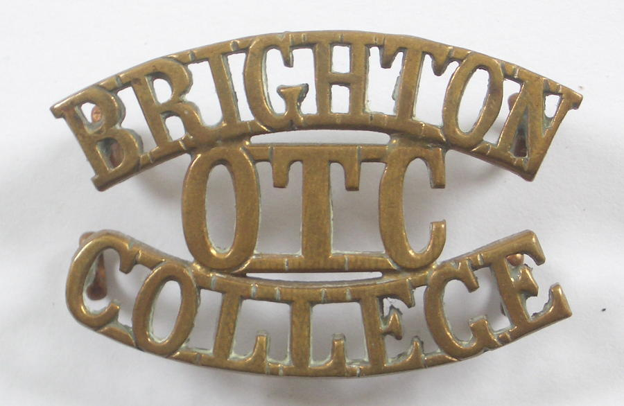 BRIGHTON / OTC / COLLEGE brass shoulder title