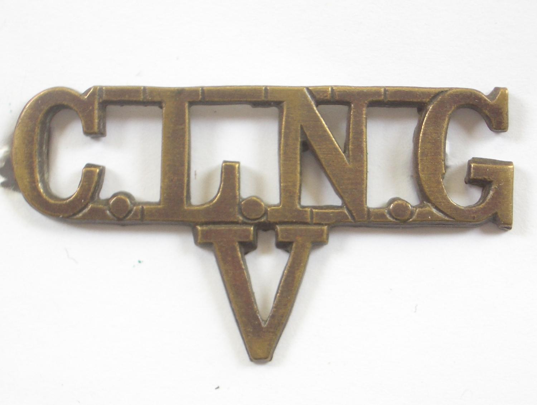 CLNG / V brass WWi VTC shoulder title