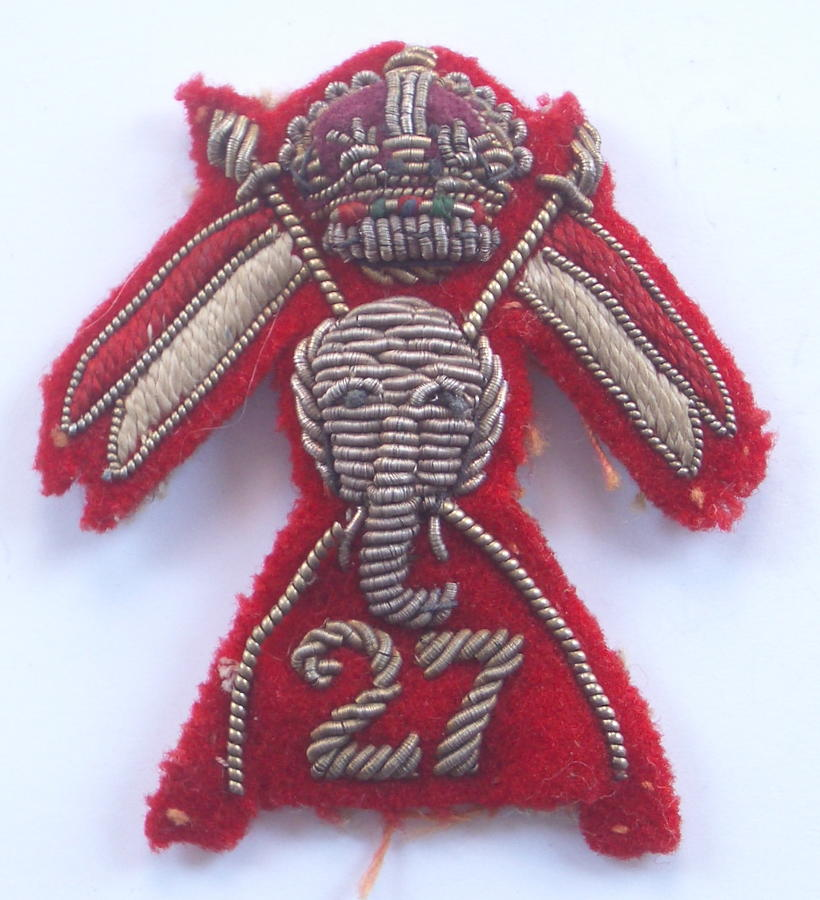 27th Lancers Officer's WW2 war raised cloth cap badge