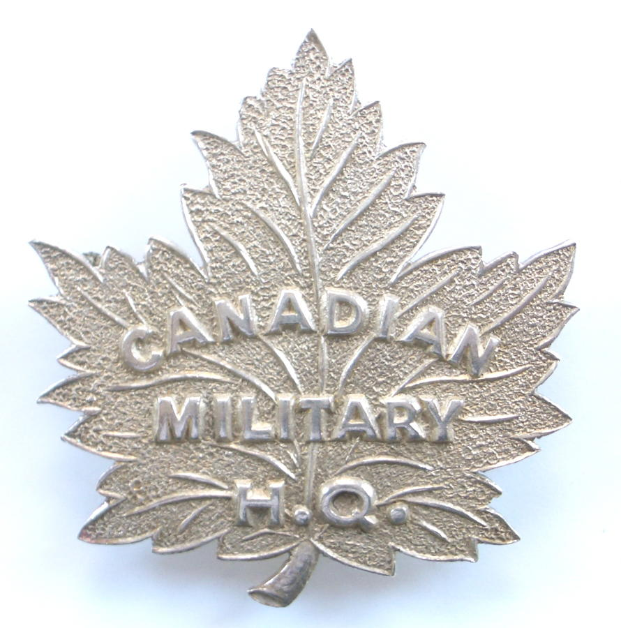 Canadian Military HQ WW1 silver badge