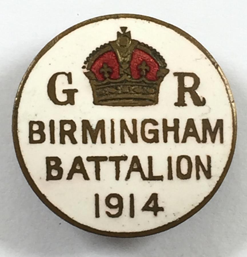 WW1 Birmingham Battalion 1914 lapel badge