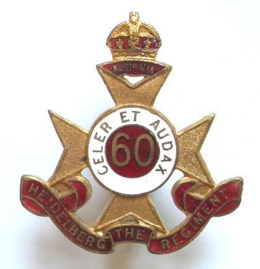 Australian 60th Infantry Bn WW2 hat badge