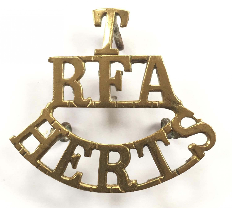 T RFA HERTS shoulder title c 1908-21