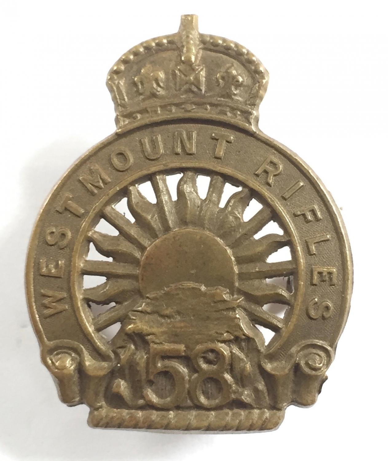 58th Westmount Rifle Militia cap badge