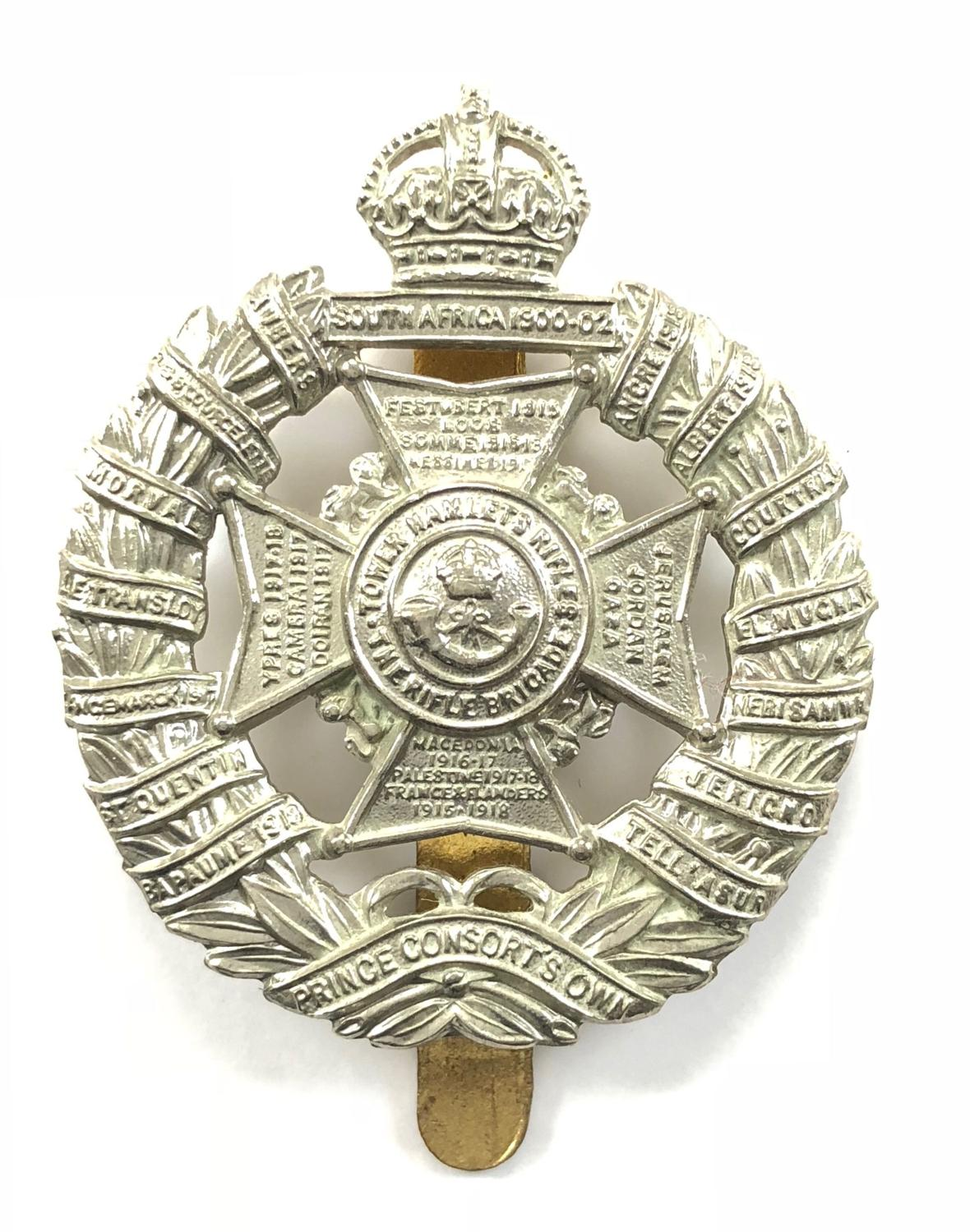 Tower Hamlets Rifles post 1926 white metal cap badge
