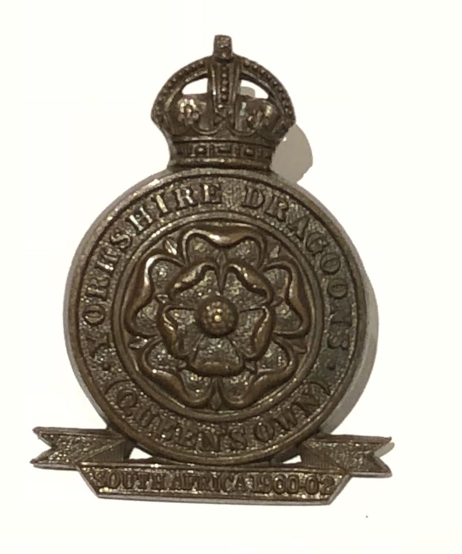 Yorkshire Dragoons post 1905 OSD bronze badge