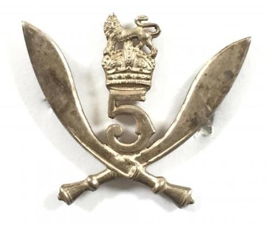 5th Gurkha Rifles WW2 1944 Birmingham hallmarked silver cap badge
