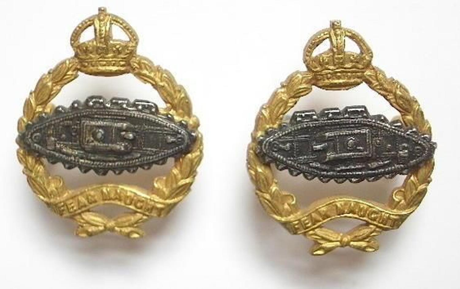 Royal Tank Corps / Regiment scarce facing pair of Officer's collar bad