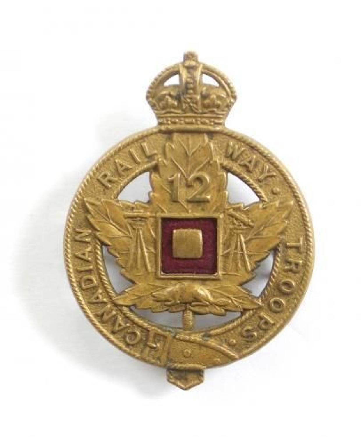 Canadian 12th Railway Troops CEF bronze cap badge by JR Gaunt, London.