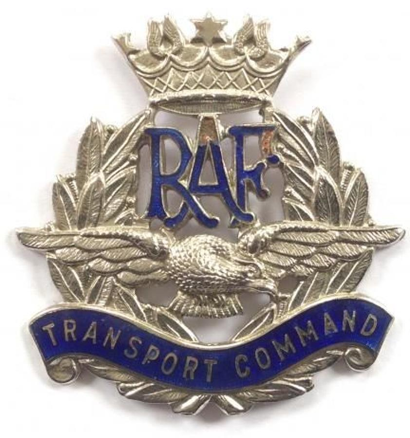 WW2 RAF Transport Command scarce chrome and blue enamel cap badge circ