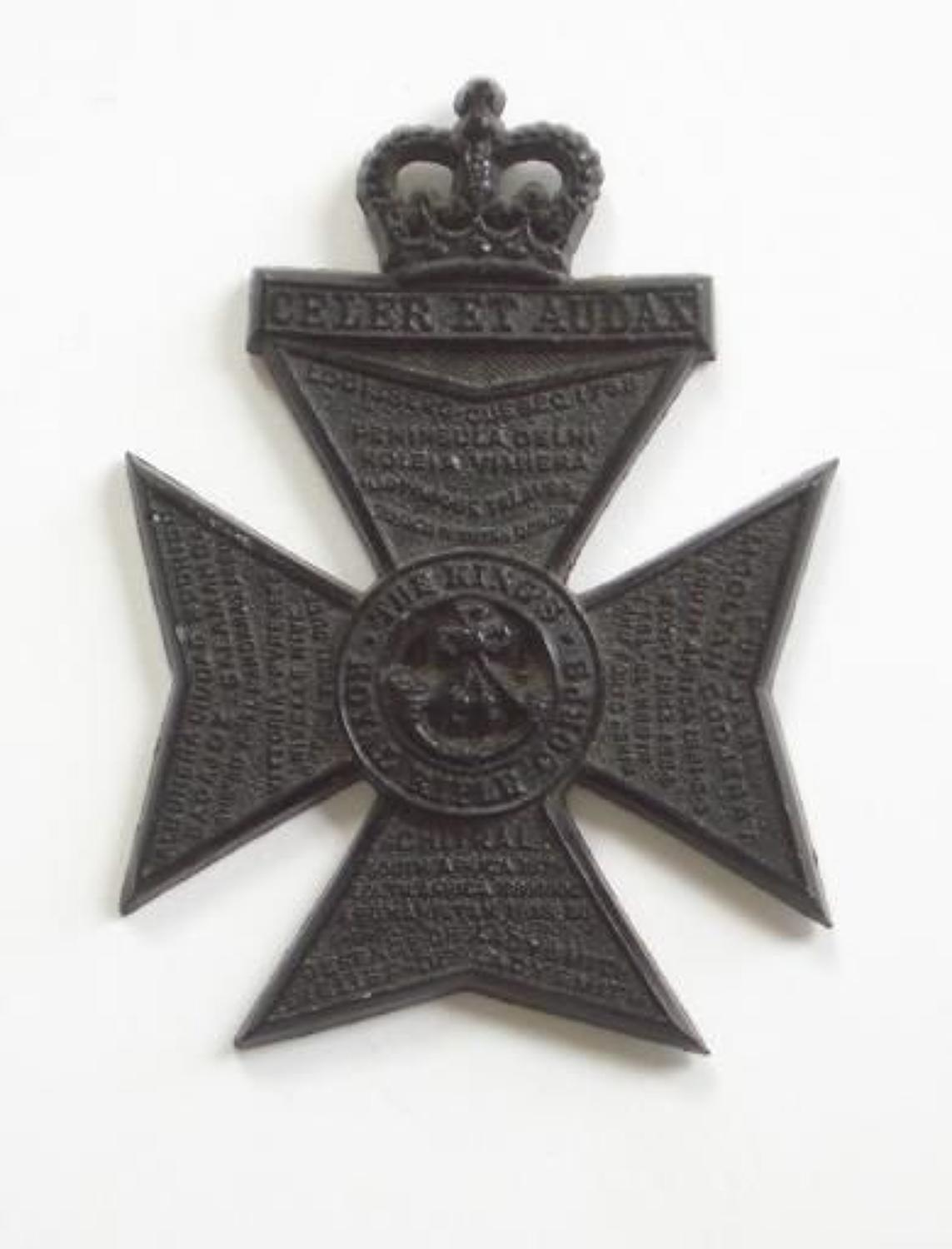 King's Royal Rifle Corps rare post 1953 plastic cap badge.