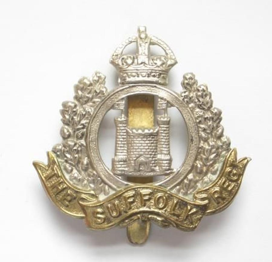 4th, 5th & 6th Bns. Suffolk Regiment post 1908 Two Tower Cap Badge by
