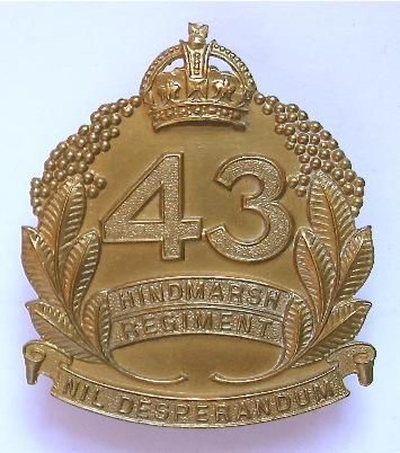 Australian 43rd Infantry Bn (Hindmarsh Regiment) 1930's brass slouch h