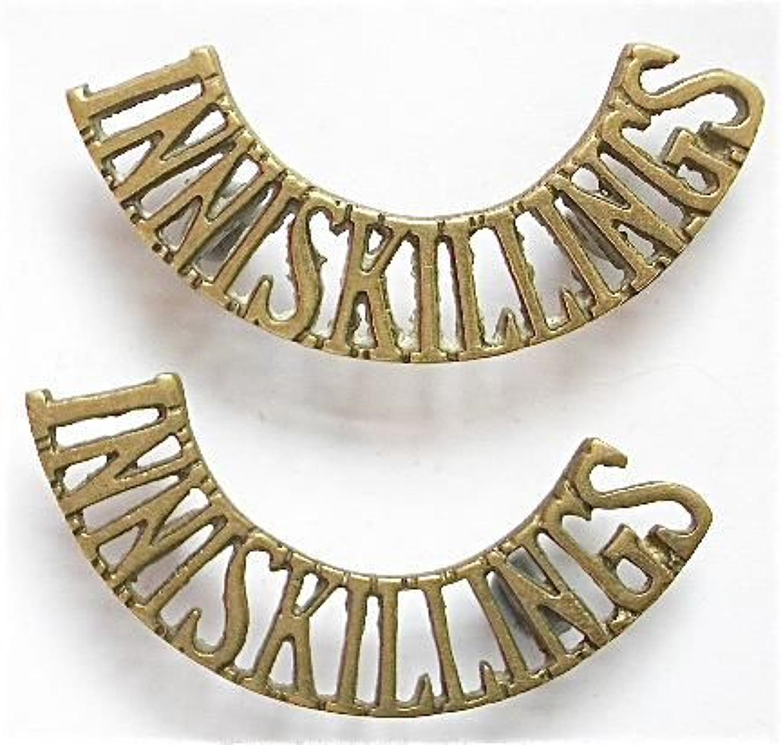 INNISKILLINGS pair of Irish Brass Shoulder Titles.