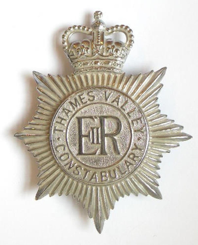 Thames Valley Constabulary chrome police helmet plate circa 1968-74. .