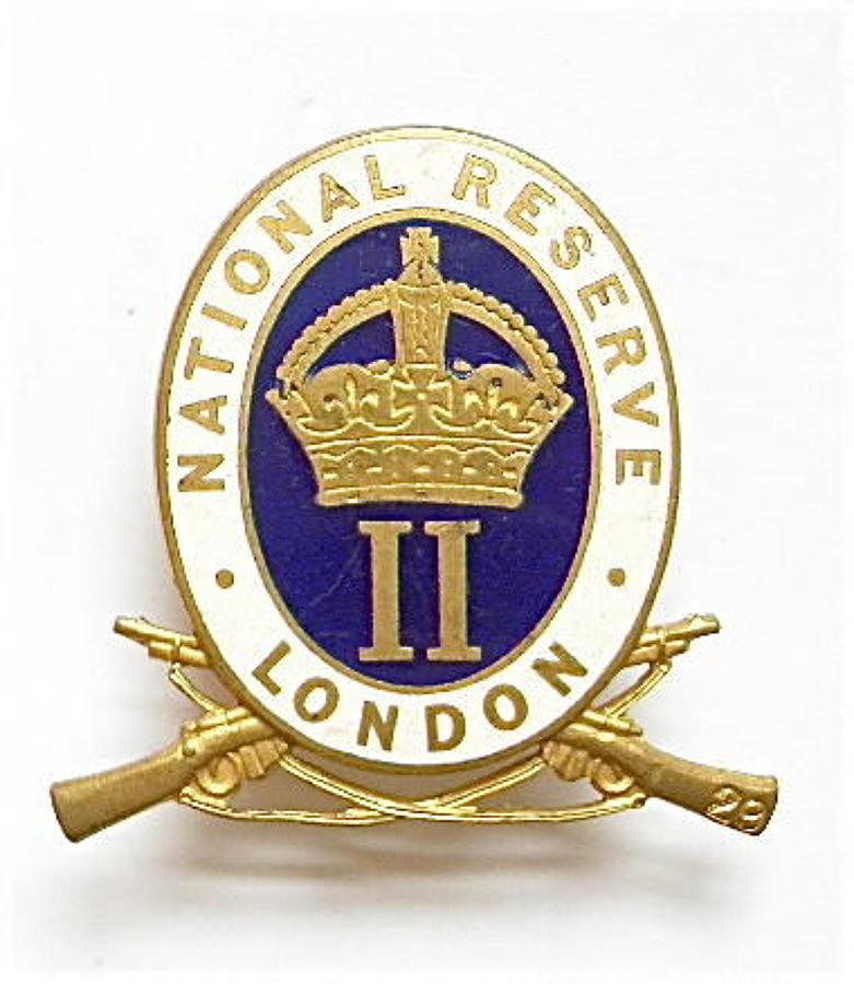 WW1 Woolwich, London National Reserve enamelled lapel badge