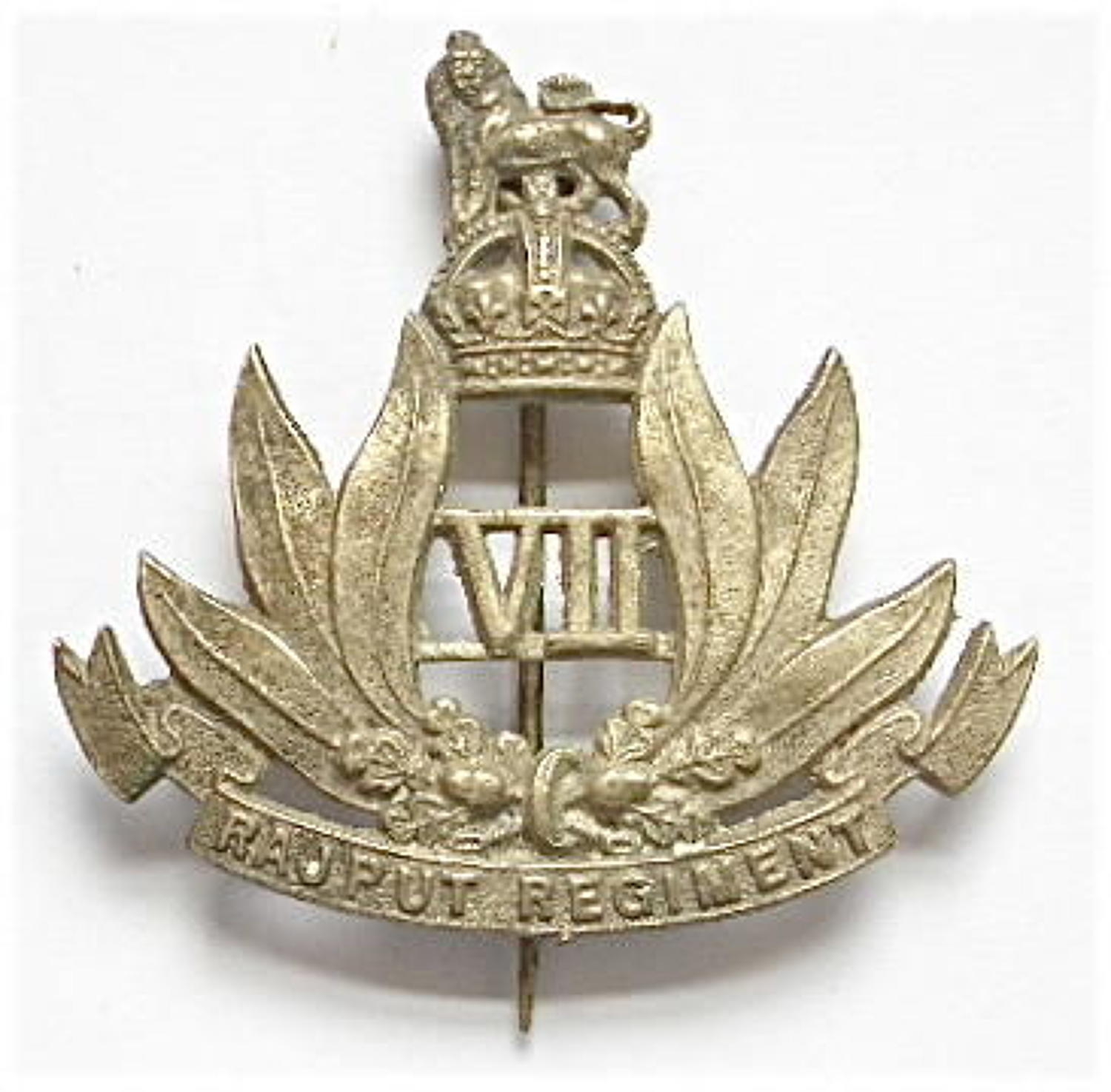 Indian Army. 7th Rajput Regiment post 1922 well cast white metal pagri