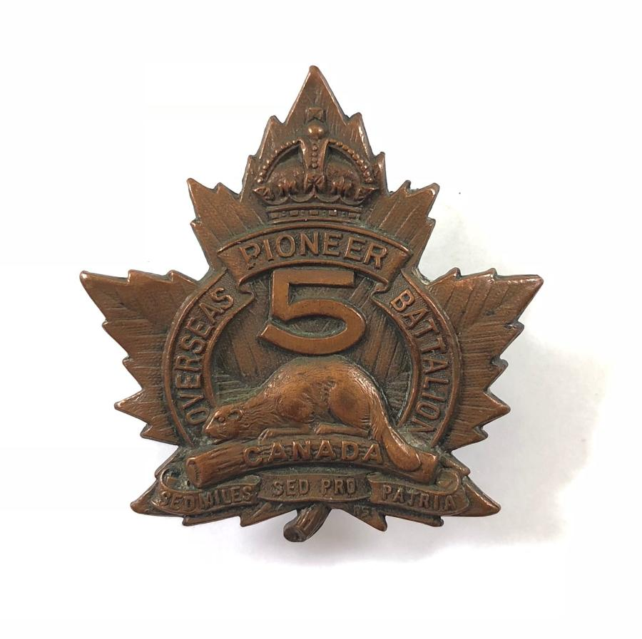 5th Pioneer Bn. WW1 CEF bronze cap badge