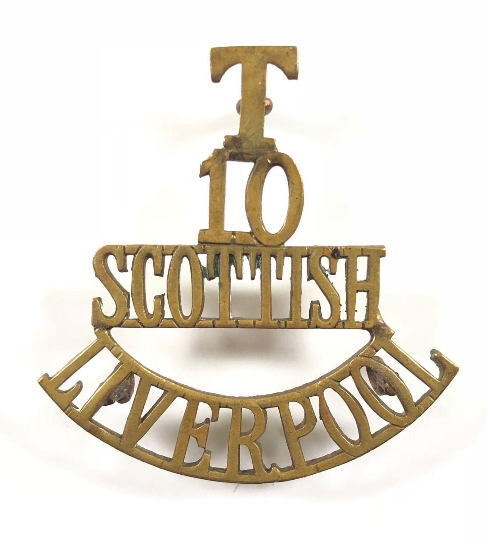 T / 10 / SCOTTISH / LIVERPOOL post 1908 brass shoulder title
