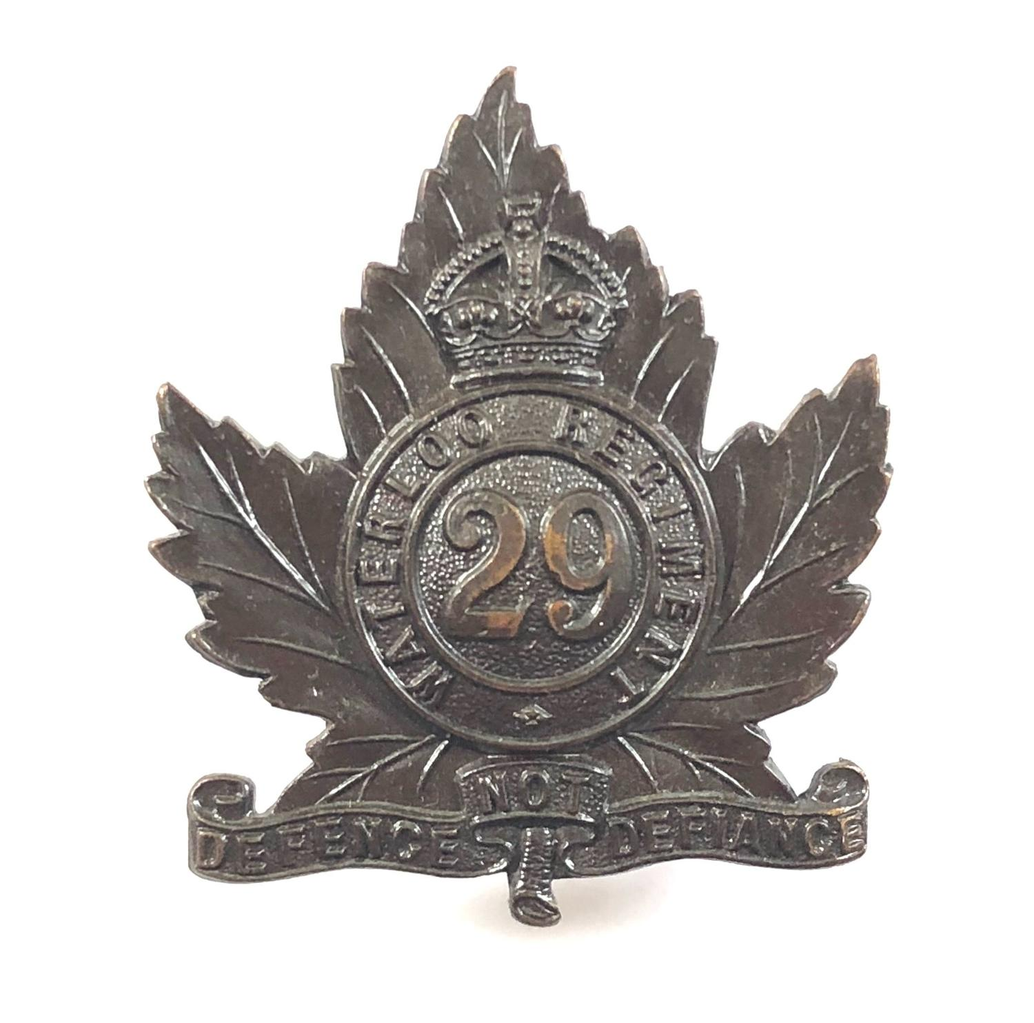 29th Regiment (Waterloo) Canadian Militia cap badge