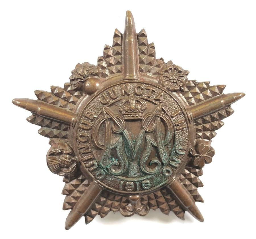 Machine Gun Guards rare WW1 OSD bronze cap star circa 1916-18