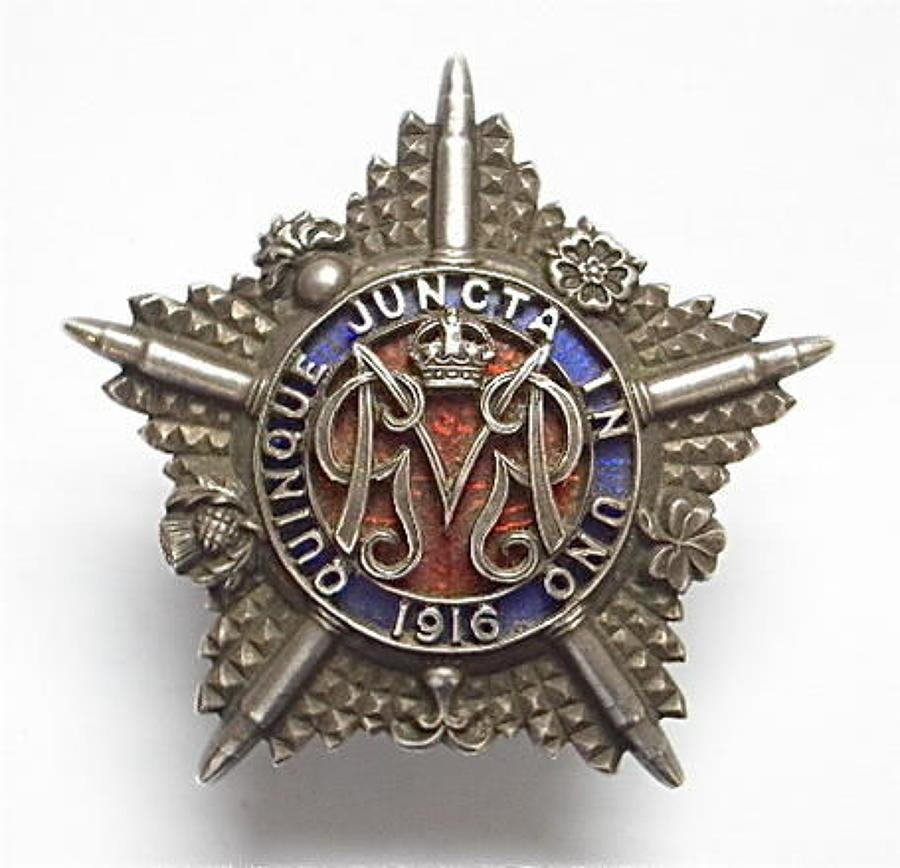 WWI Machine Gun Guards 1916 hallmarked silver cap badge