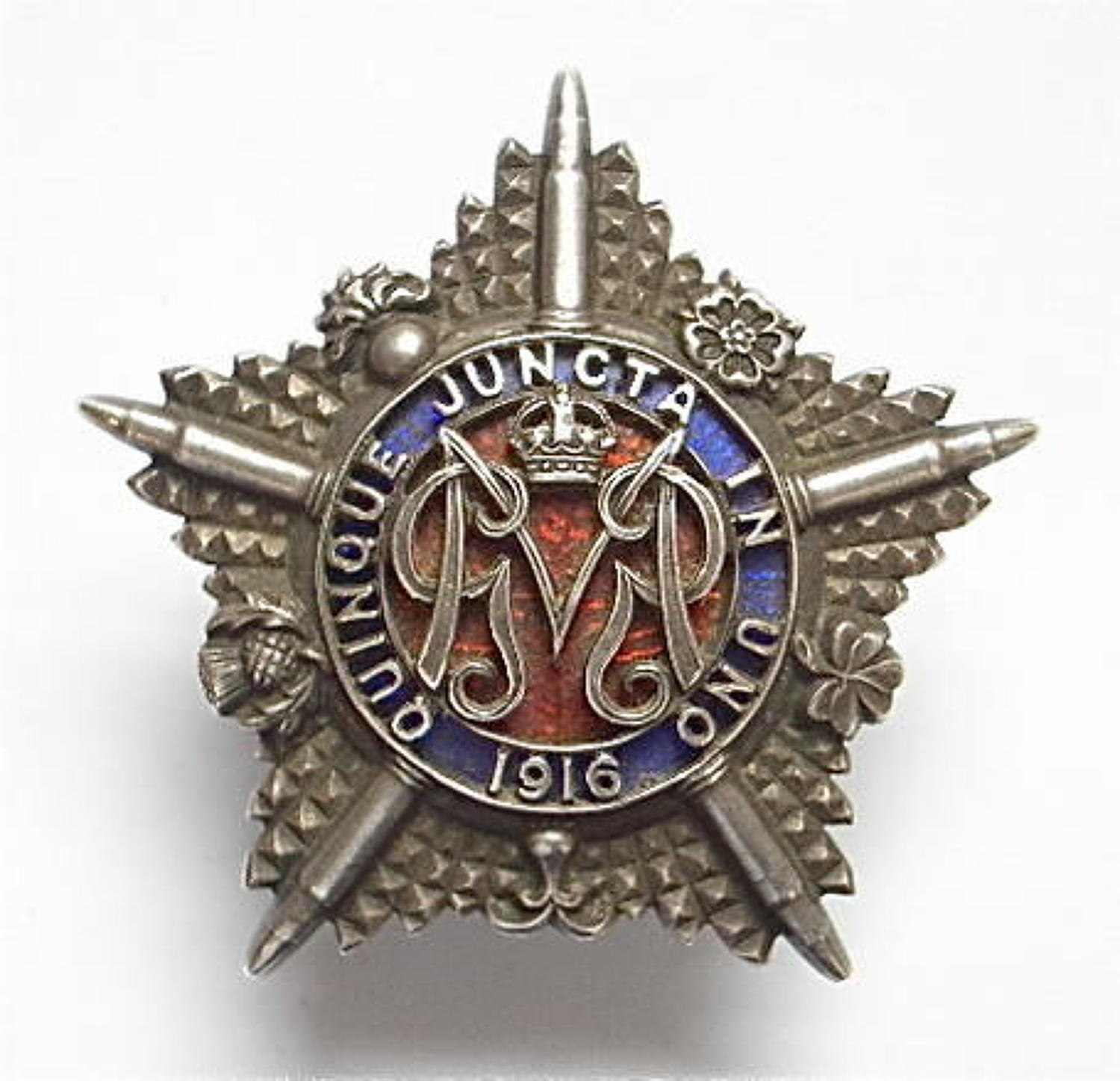 WWI Machine Gun Guards 1916 hallmarked silver cap badge
