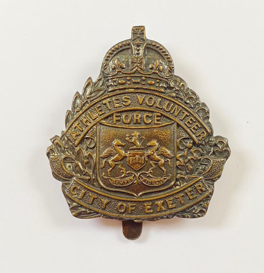 City of Exeter Athletes Volunteer Force VTC WW1 bronze cap badge