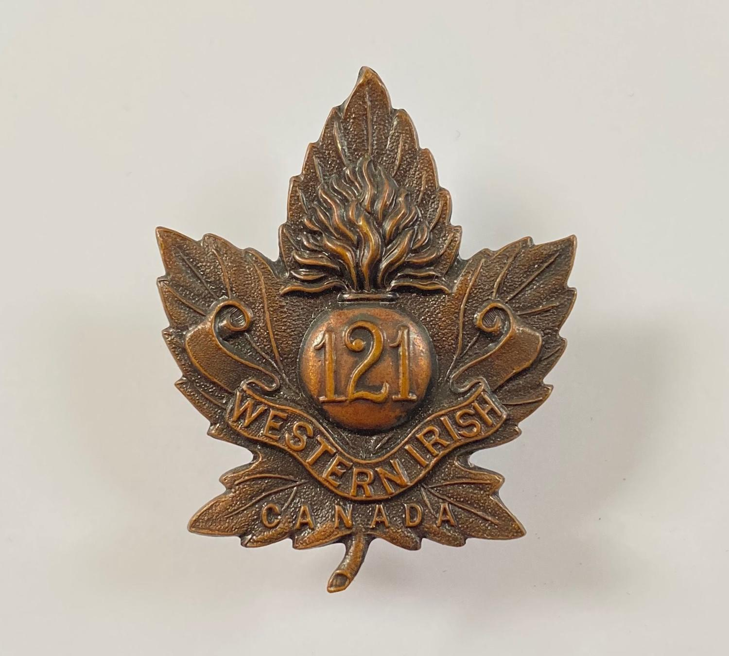 Canadian. 121st (Western Irish) Bn. CEF WW1 bronze cap badge