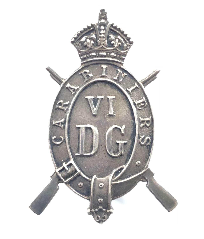 6th Dragoon Guards NCO's 1920 London hallmarked silver arm badge
