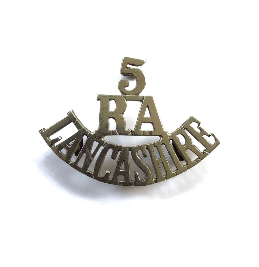 5 / RA / LANCASHIRE  pre 1908 Artillery Volunteers shoulder title