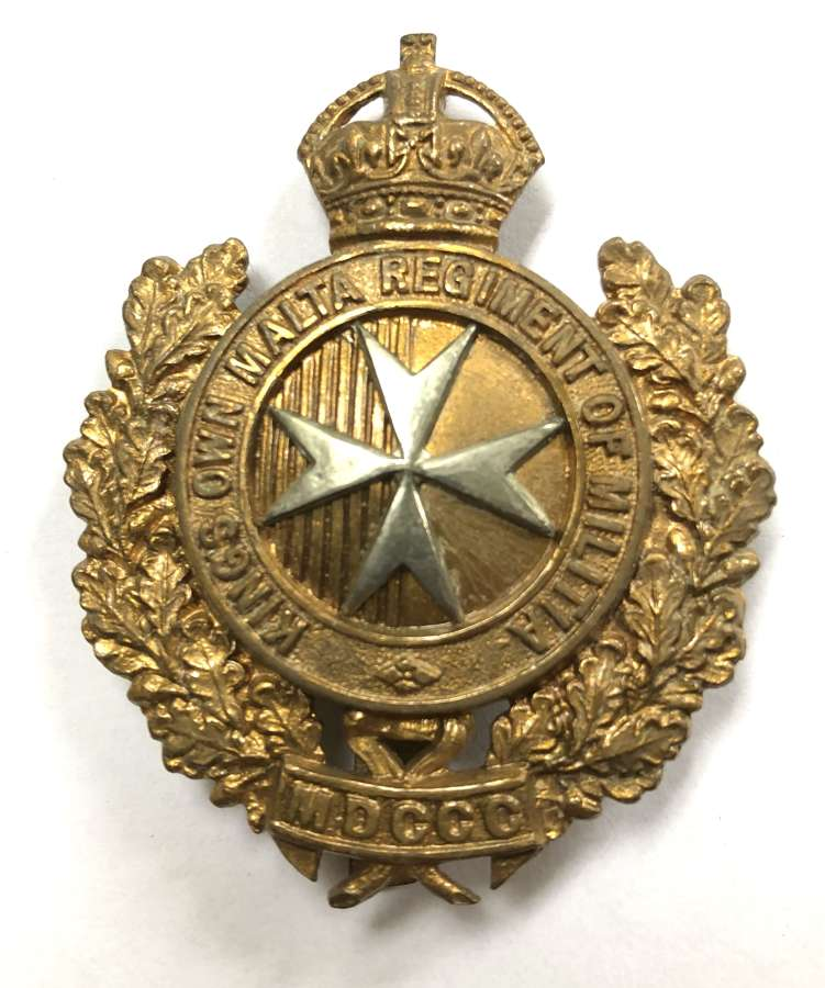 King's Own Malta Regiment of Militia cap badge circa 1903-21